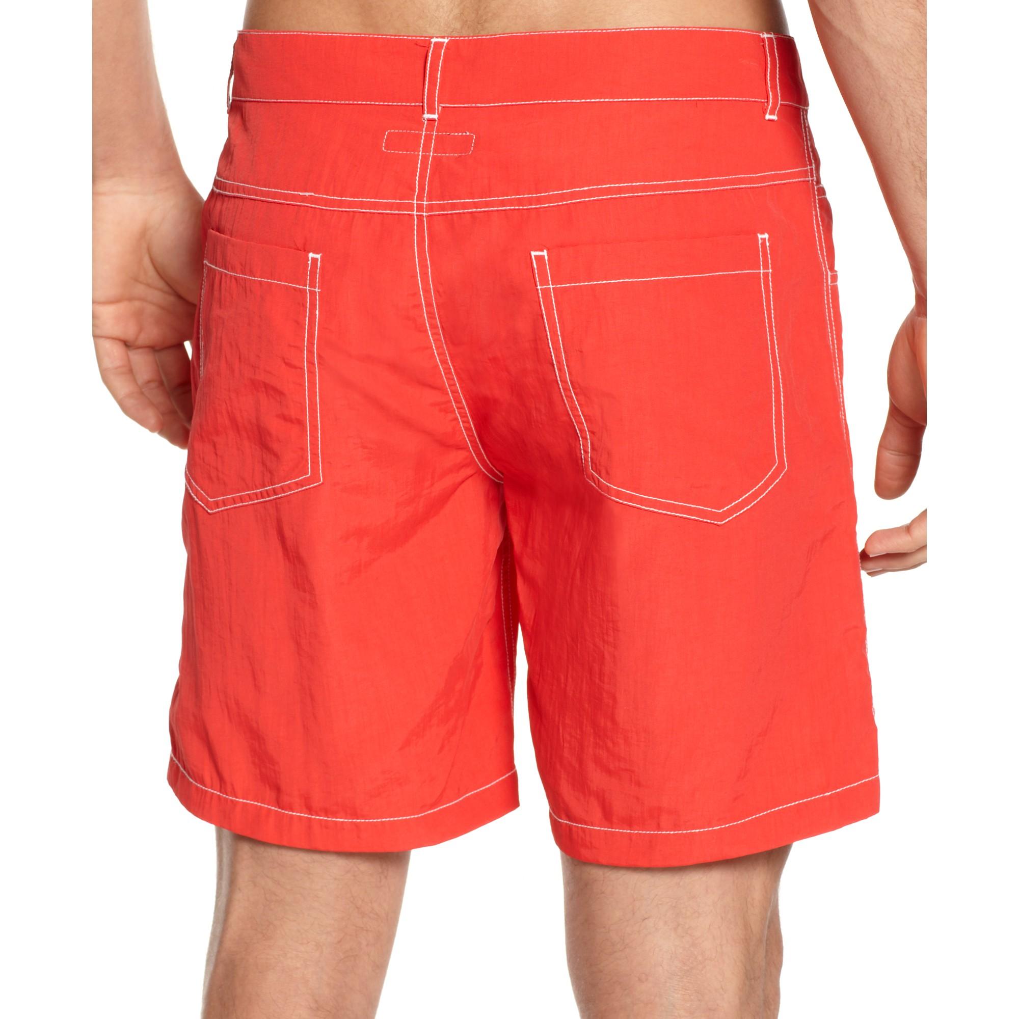 Emporio armani Bermuda Woven Swim Shorts in Red for Men | Lyst