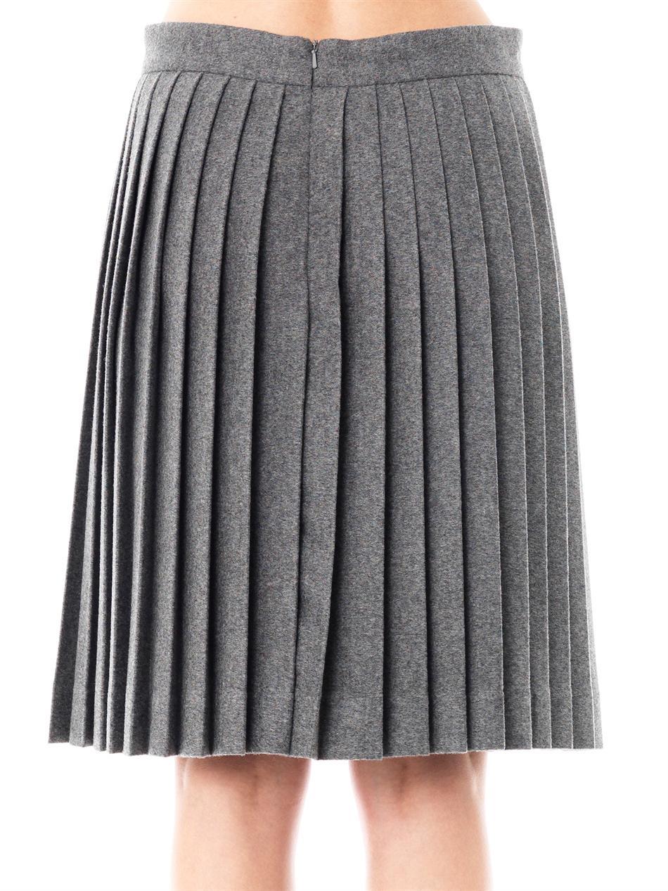 freda wool pleated skirt in gray lyst