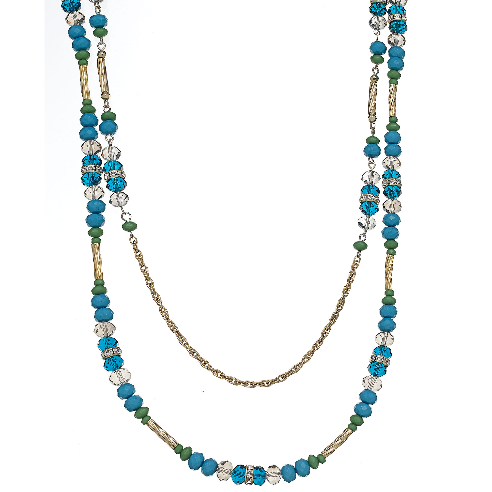 inc international concepts goldtone blue and green bead