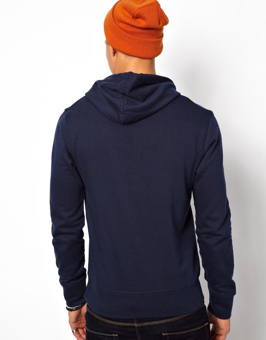 fred perry jack jones hoodie with 75 logo in blue for men. Black Bedroom Furniture Sets. Home Design Ideas