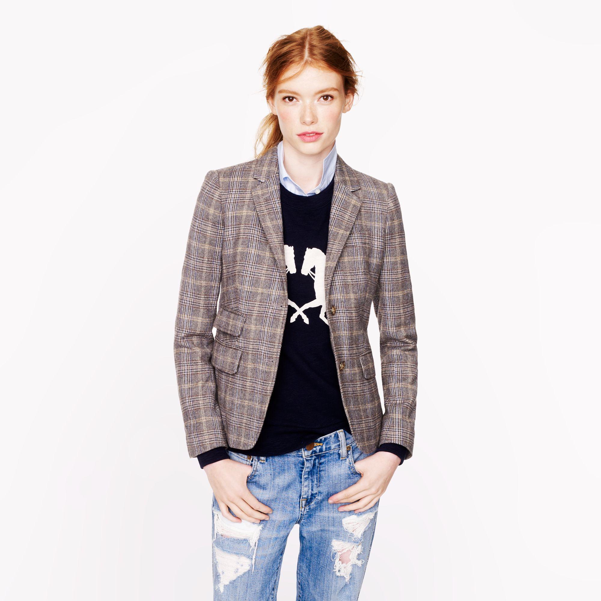 J.crew Petite Schoolboy Blazer in English Tweed in Gray | Lyst