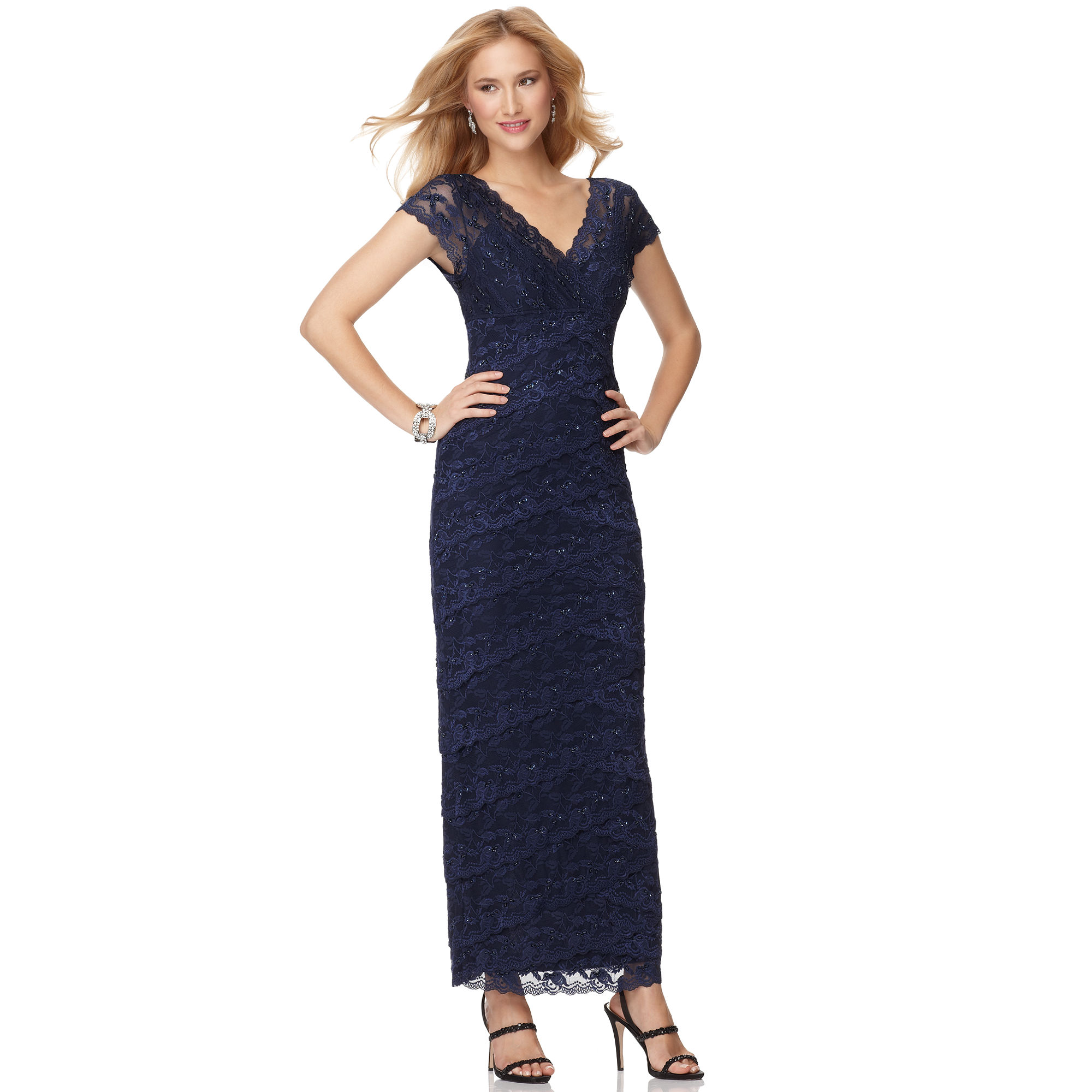 Lyst - Marina Short Sleeve Vneck Beaded Lace Evening Gown in Blue
