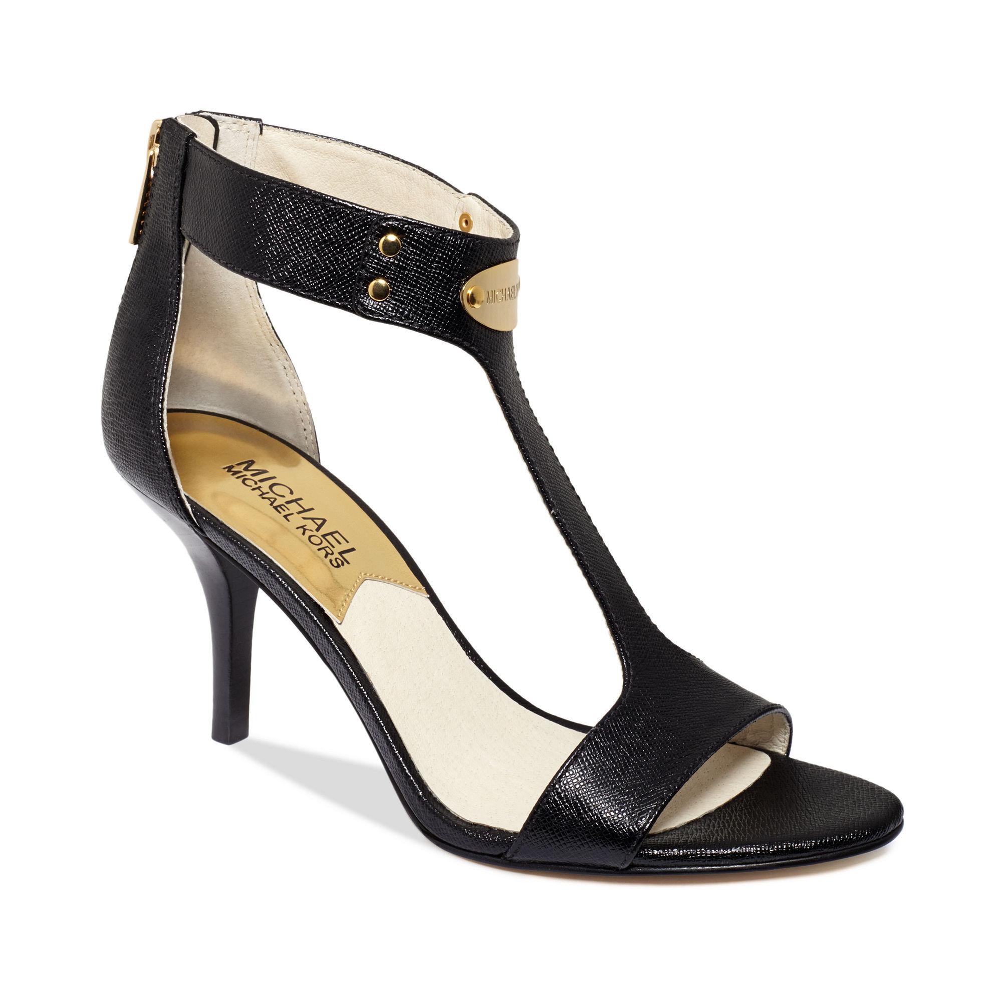 b10e1ecf1f50 Lyst - Michael Kors Mk Plate Mid Heel Sandals in Black
