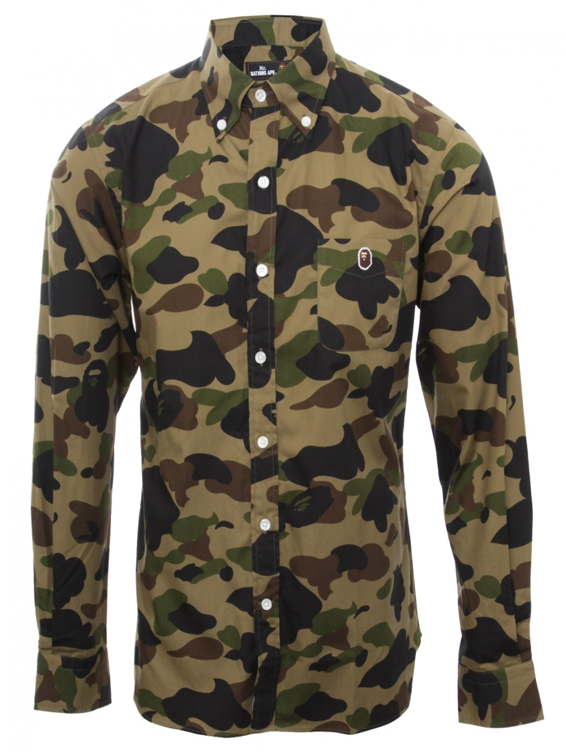 Mr Bathing Ape Camouflage Shirt With Ape Print In Green