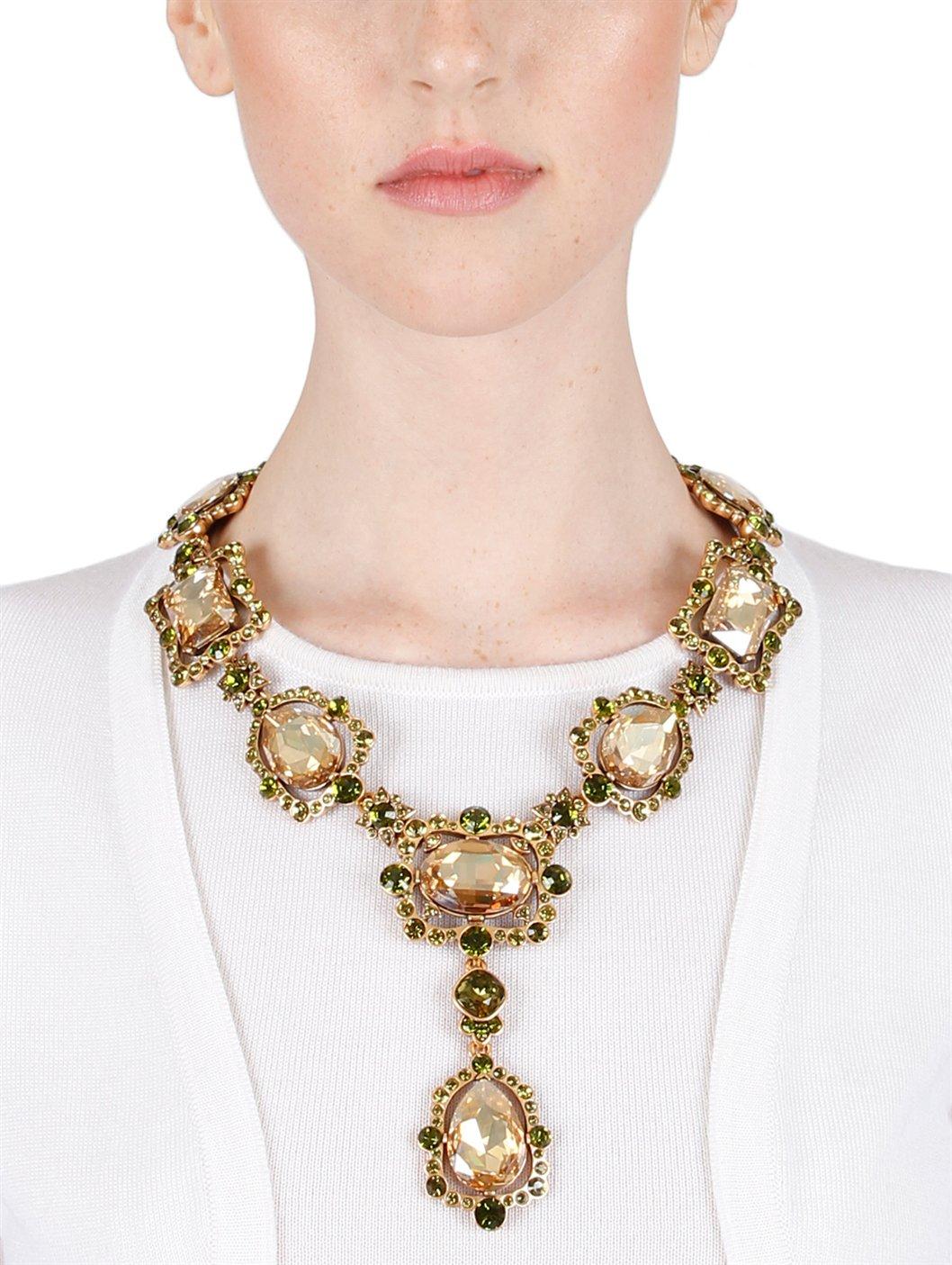 Oscar de la renta Chandelier Crystal Necklace in Metallic | Lyst