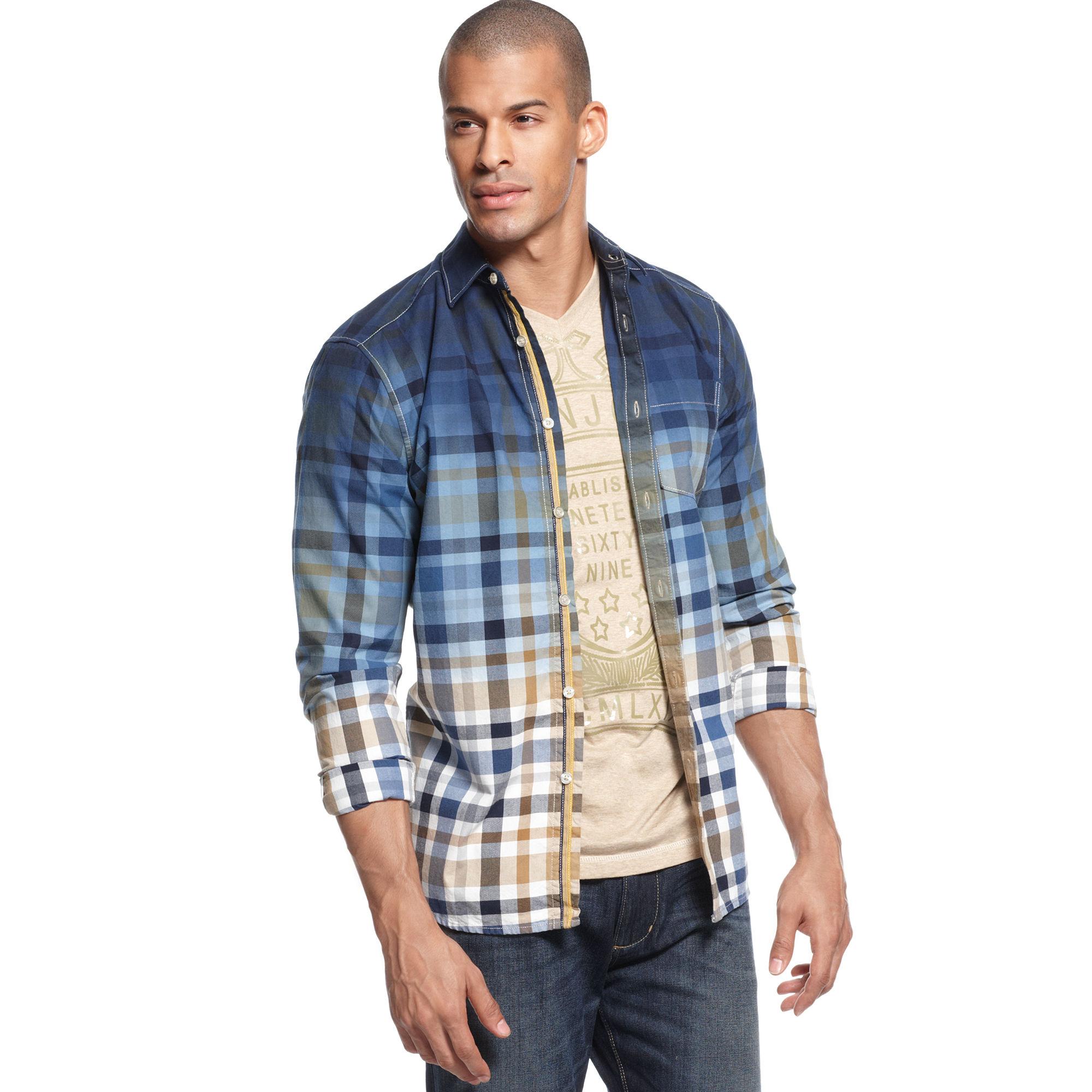Lyst - Sean John Dip Dye Long Sleeve Ombre Check Shirt in Blue for Men