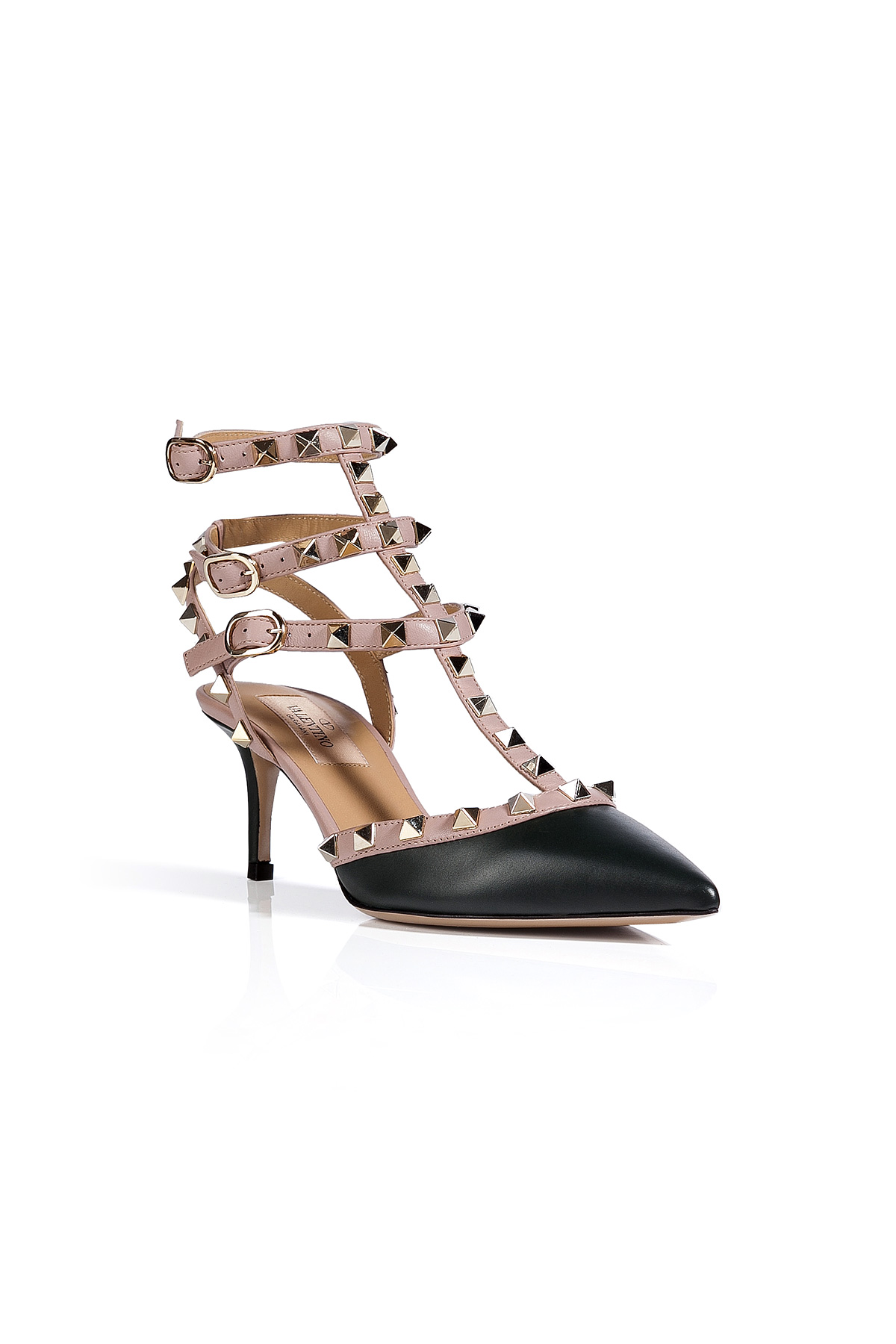 valentino leather rockstud kitten heels in black lyst. Black Bedroom Furniture Sets. Home Design Ideas
