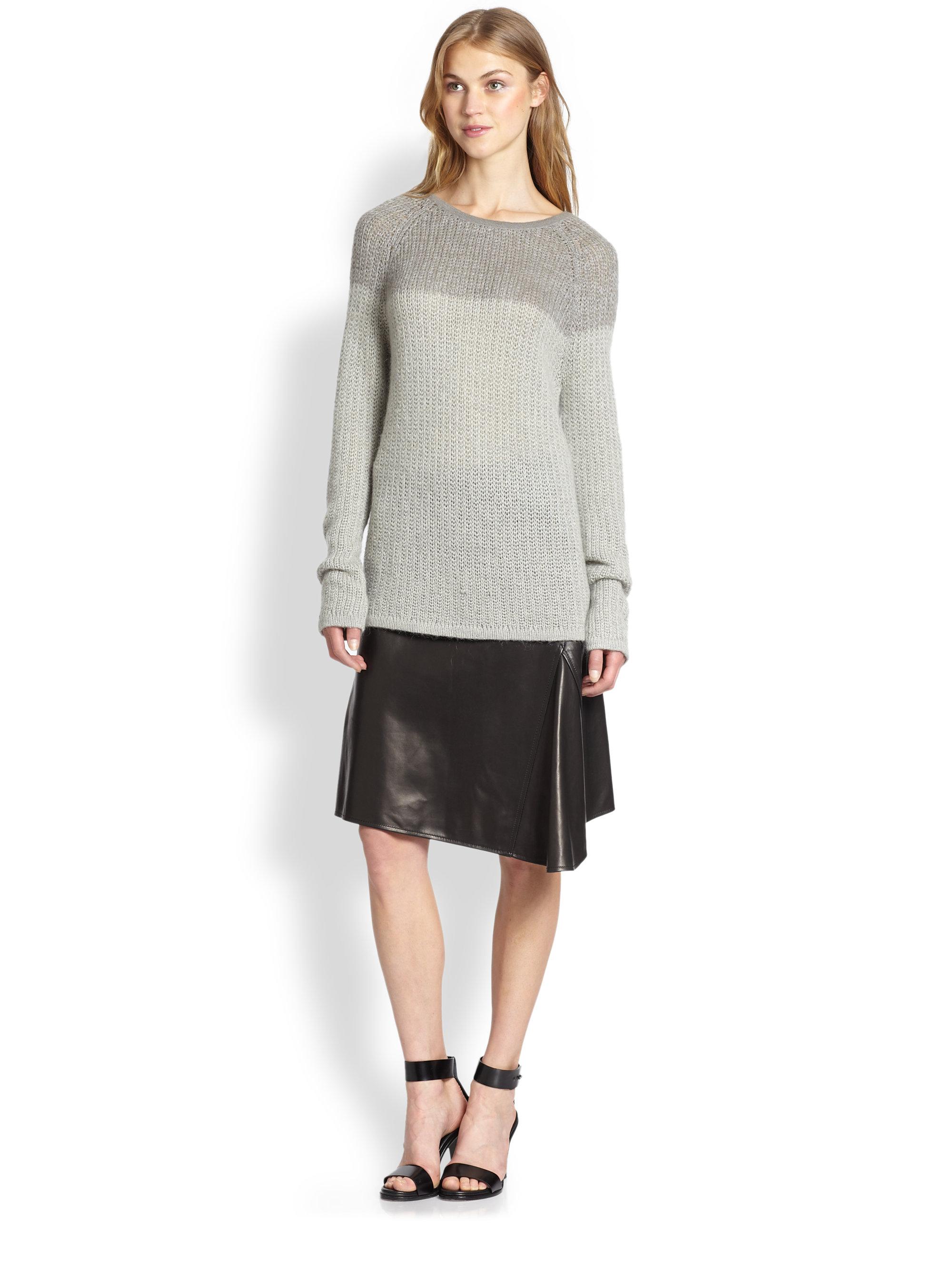 10 crosby derek lam asymmetrical leather skirt in black lyst