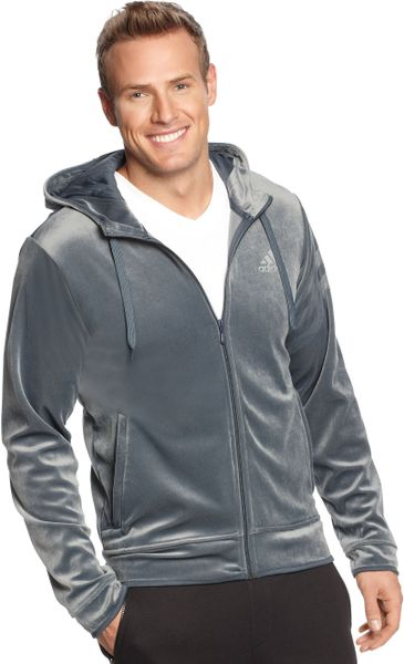adidas velour hoodie in silver for men black lyst. Black Bedroom Furniture Sets. Home Design Ideas