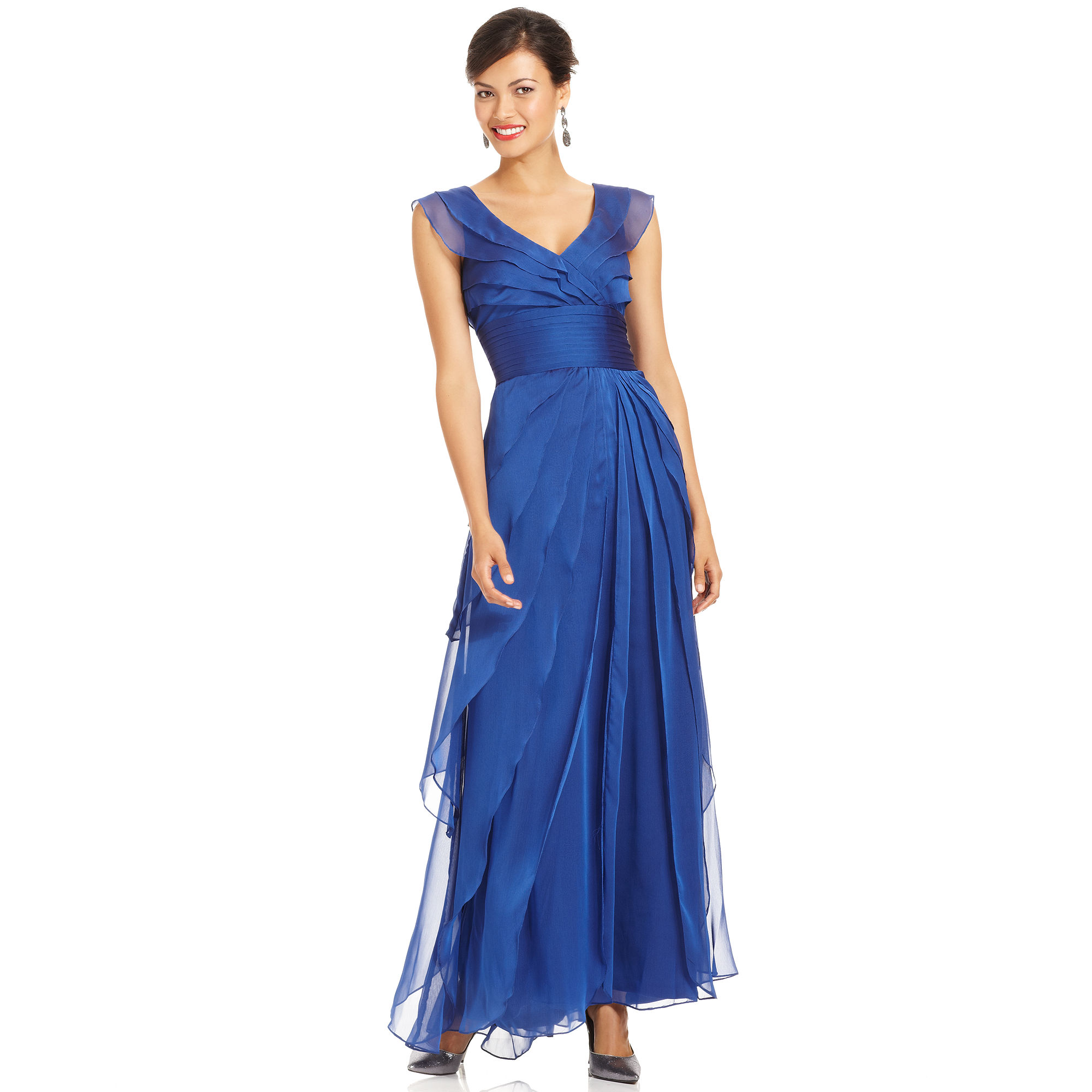 Adrianna papell Tiered Evening Dress in Blue  Lyst