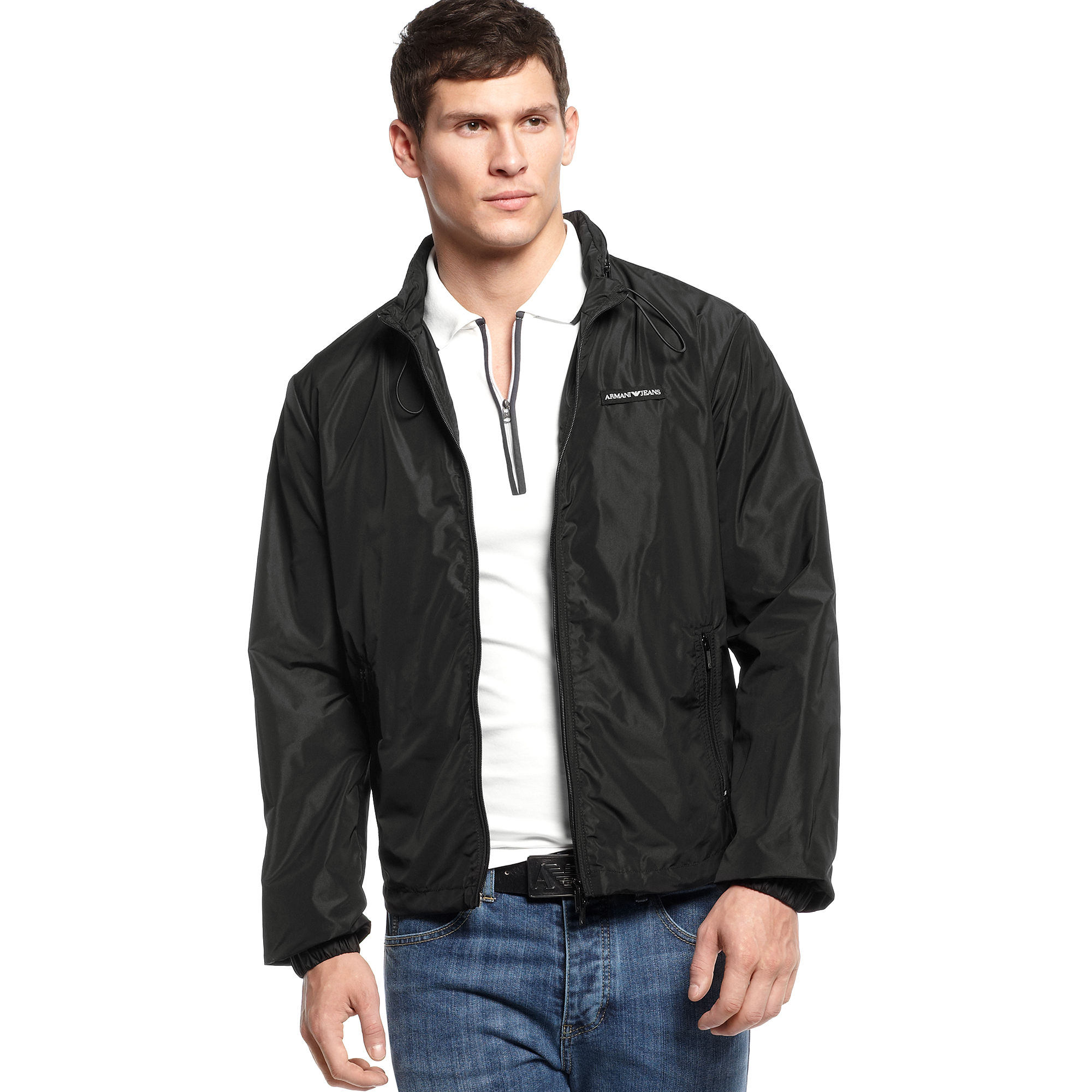 Armani jeans Lightweight Nylon Windbreaker Jacket in Black for Men