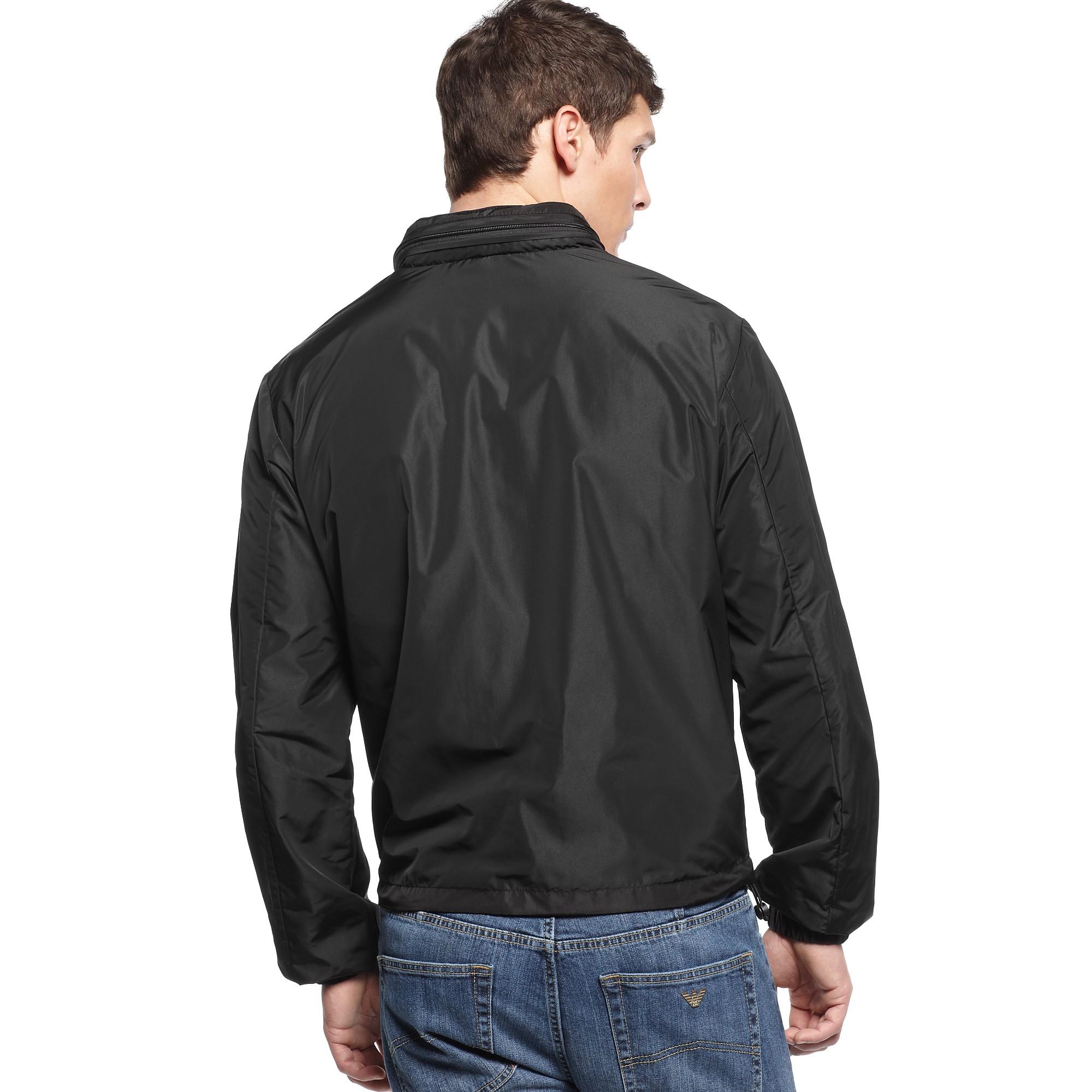 97c0610d9aa785 Lyst - Armani Jeans Lightweight Nylon Windbreaker Jacket in Black ...