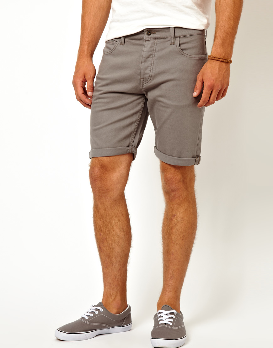 Asos Denim Shorts In Skinny Fit Mid Length in Gray for Men | Lyst
