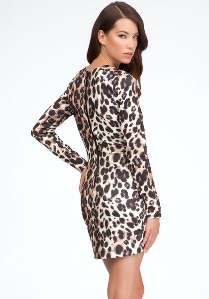 Bebe Leopard Long Sleeve Bodycon Dress In Animal Leopard