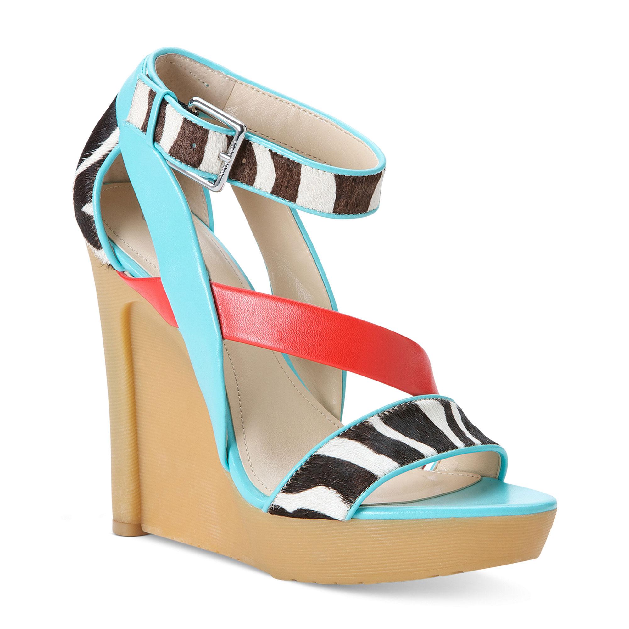 calvin klein platform wedge sandals in multicolor