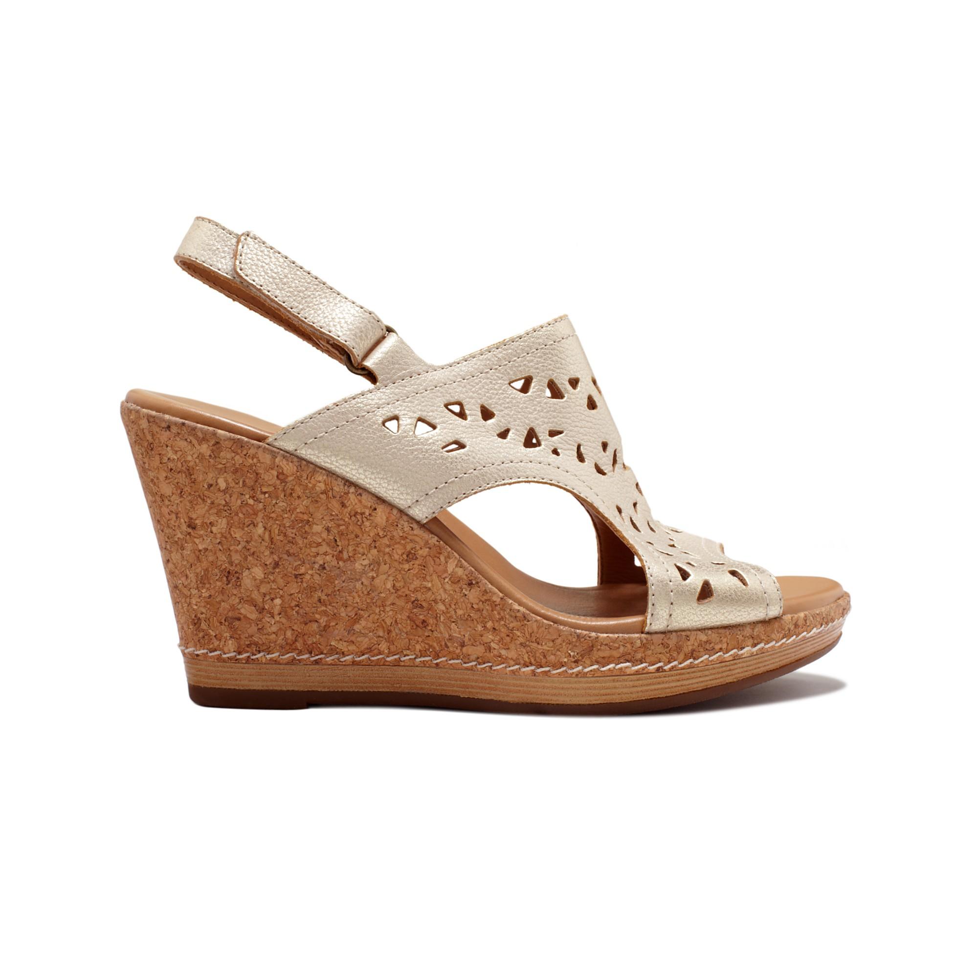 clarks pitch mint platform wedge sandals in brown lyst