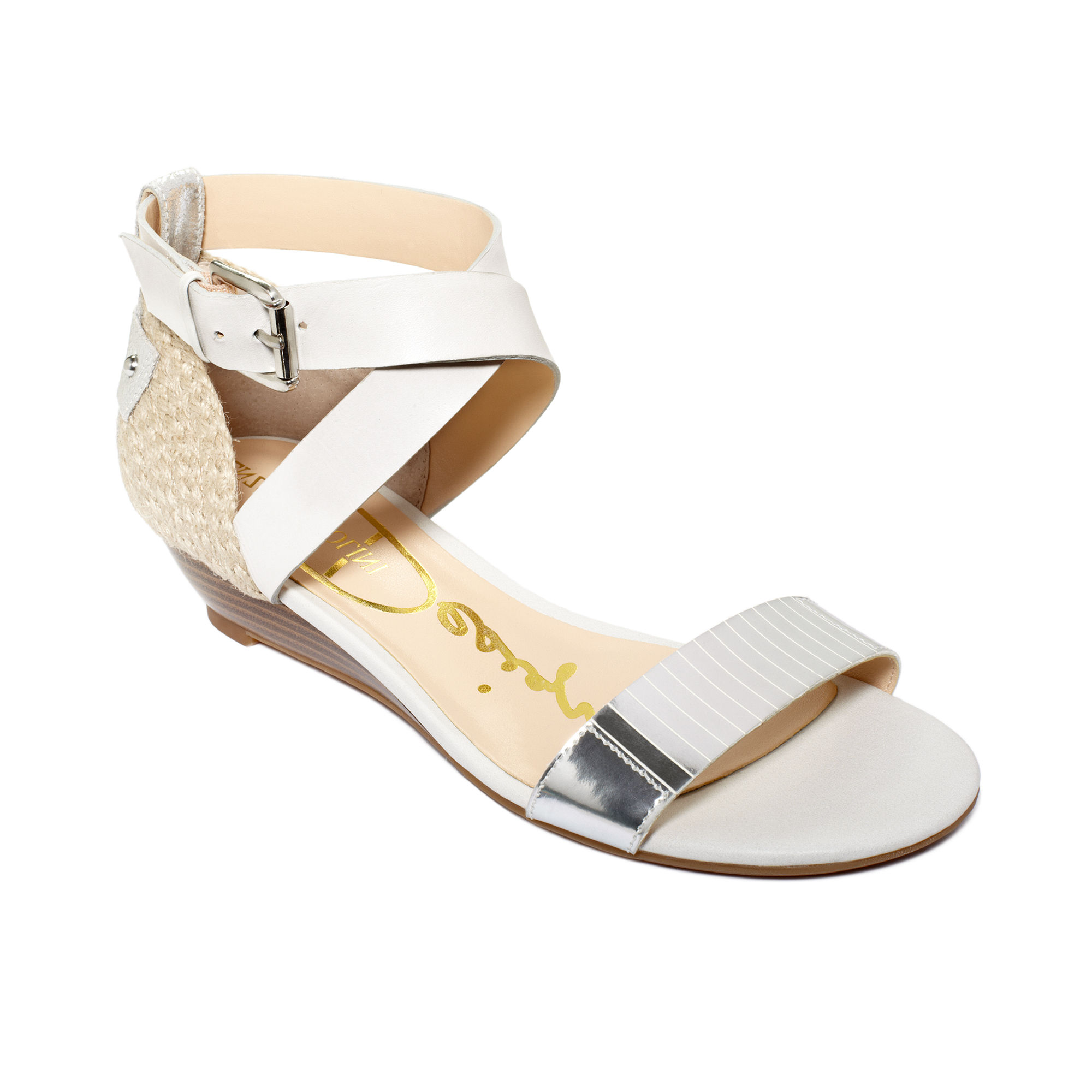 enzo angiolini kahny demi wedge sandals in silver black