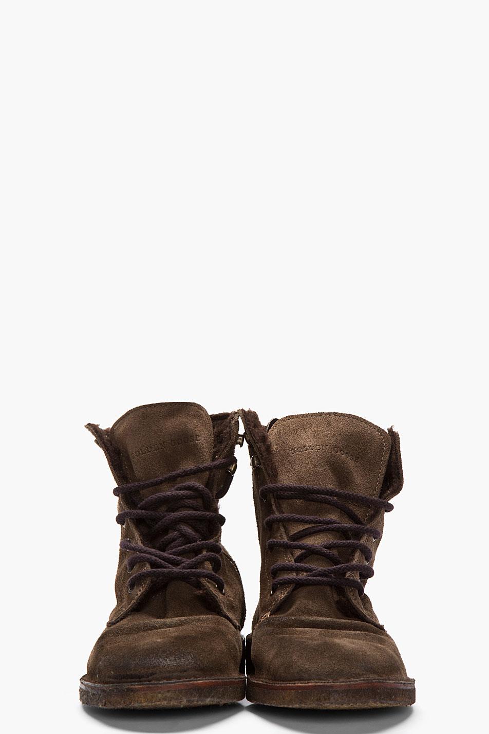 Golden Goose Deluxe Brand Brown Suede Gramercy Boots In