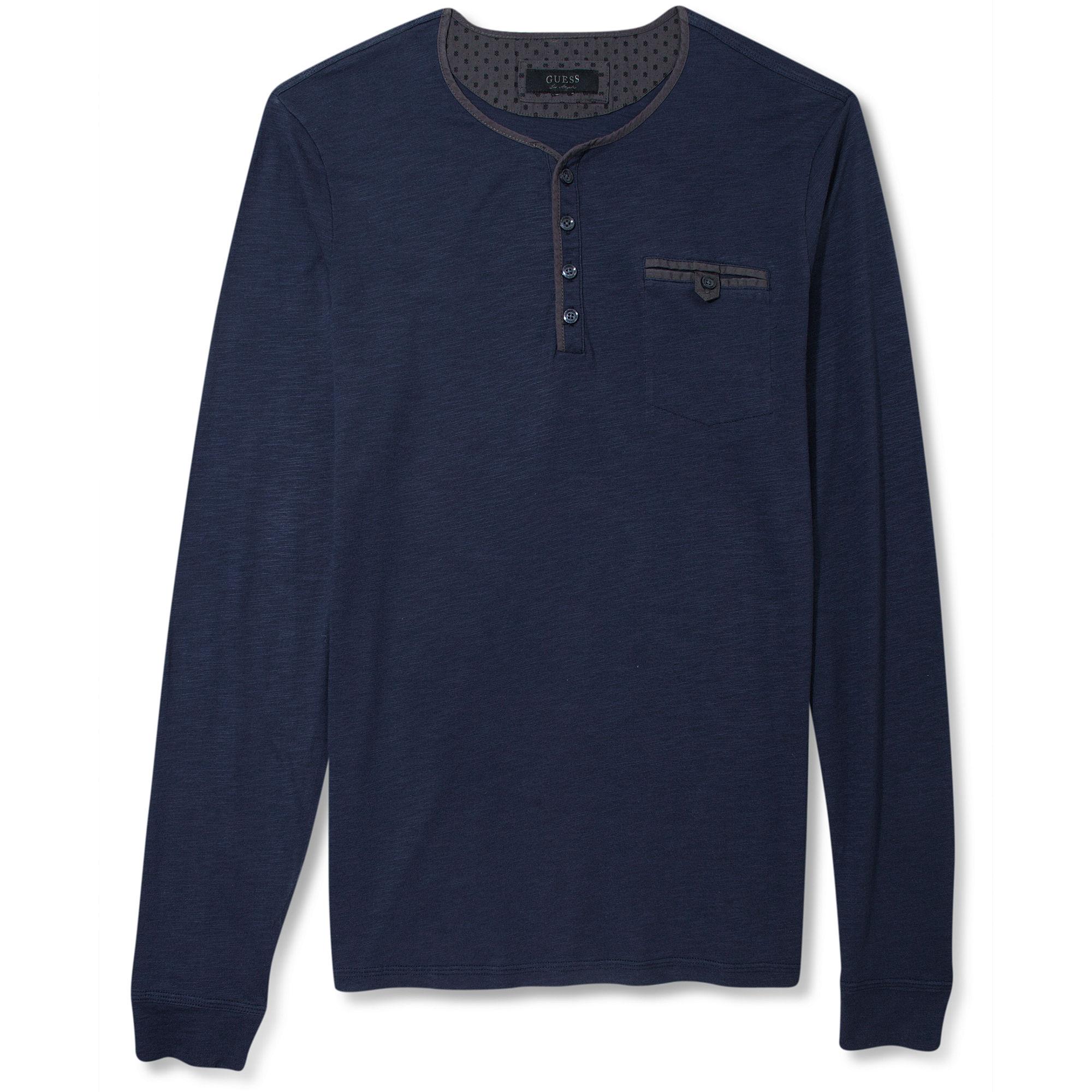 Guess Jeans Shirt Longsleeve Henley In Blue For Men