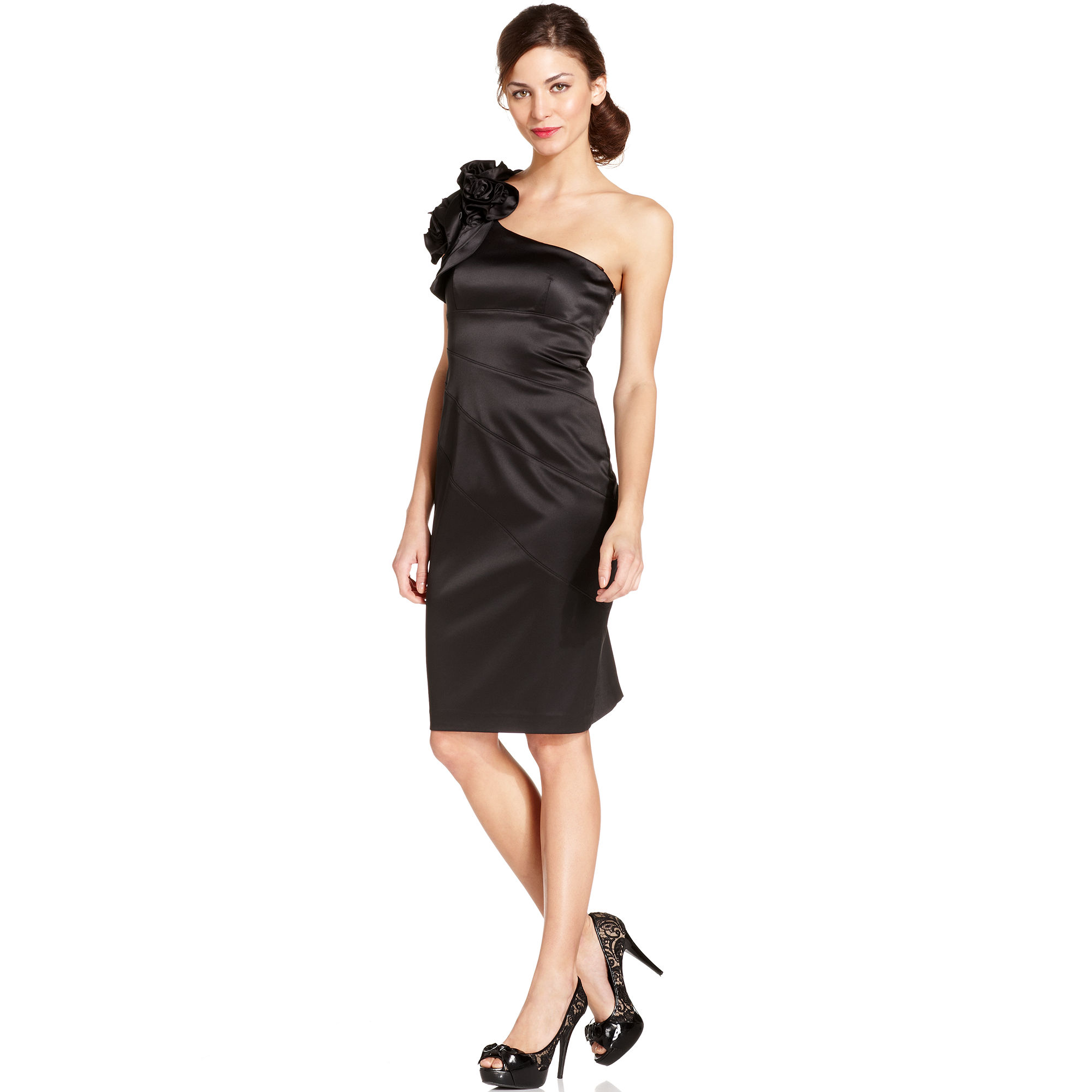 Jessica simpson Crafted One Shoulder Cocktail Dress in Black | Lyst