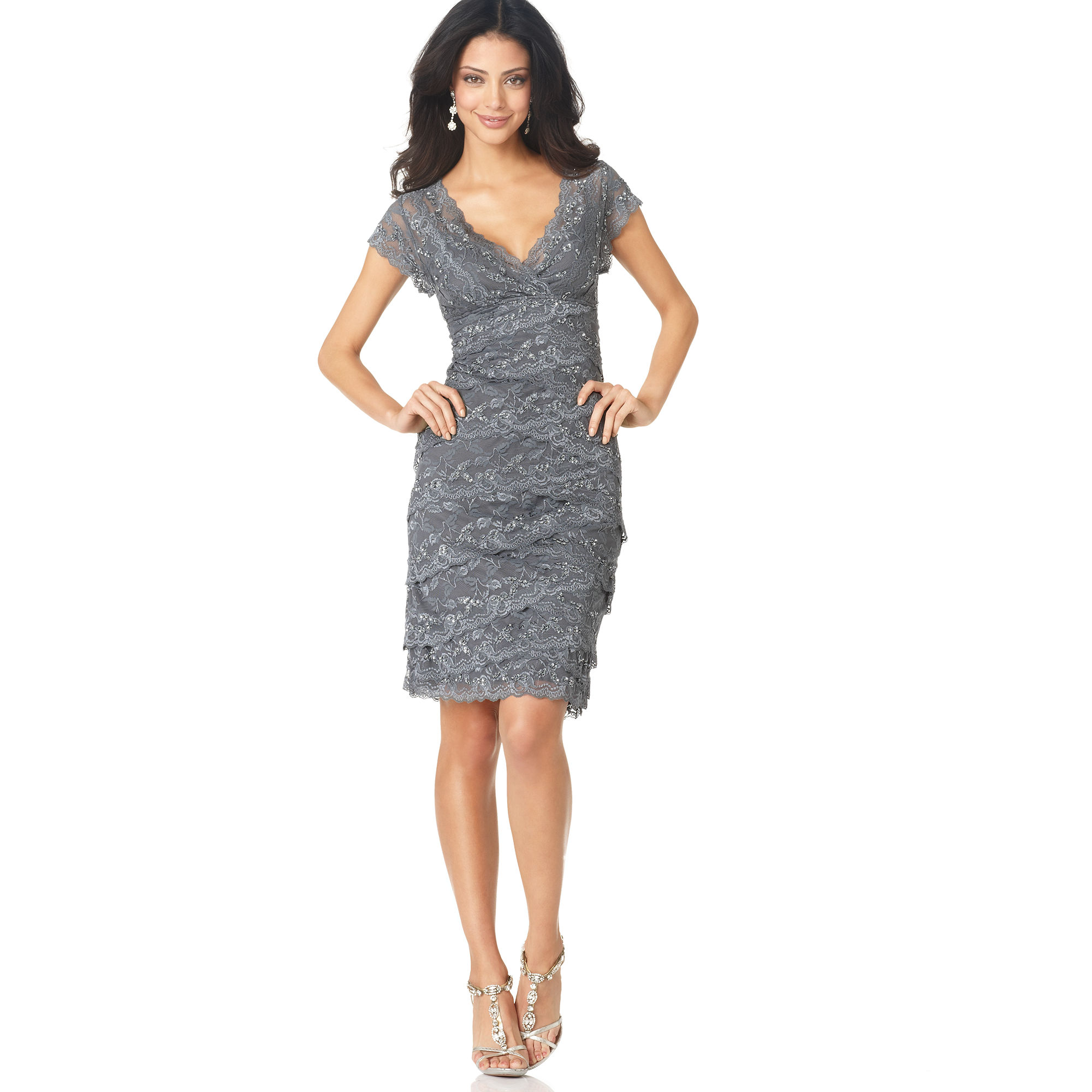 Marina Cap Sleeve Lace Cocktail Dress In Gray Lyst