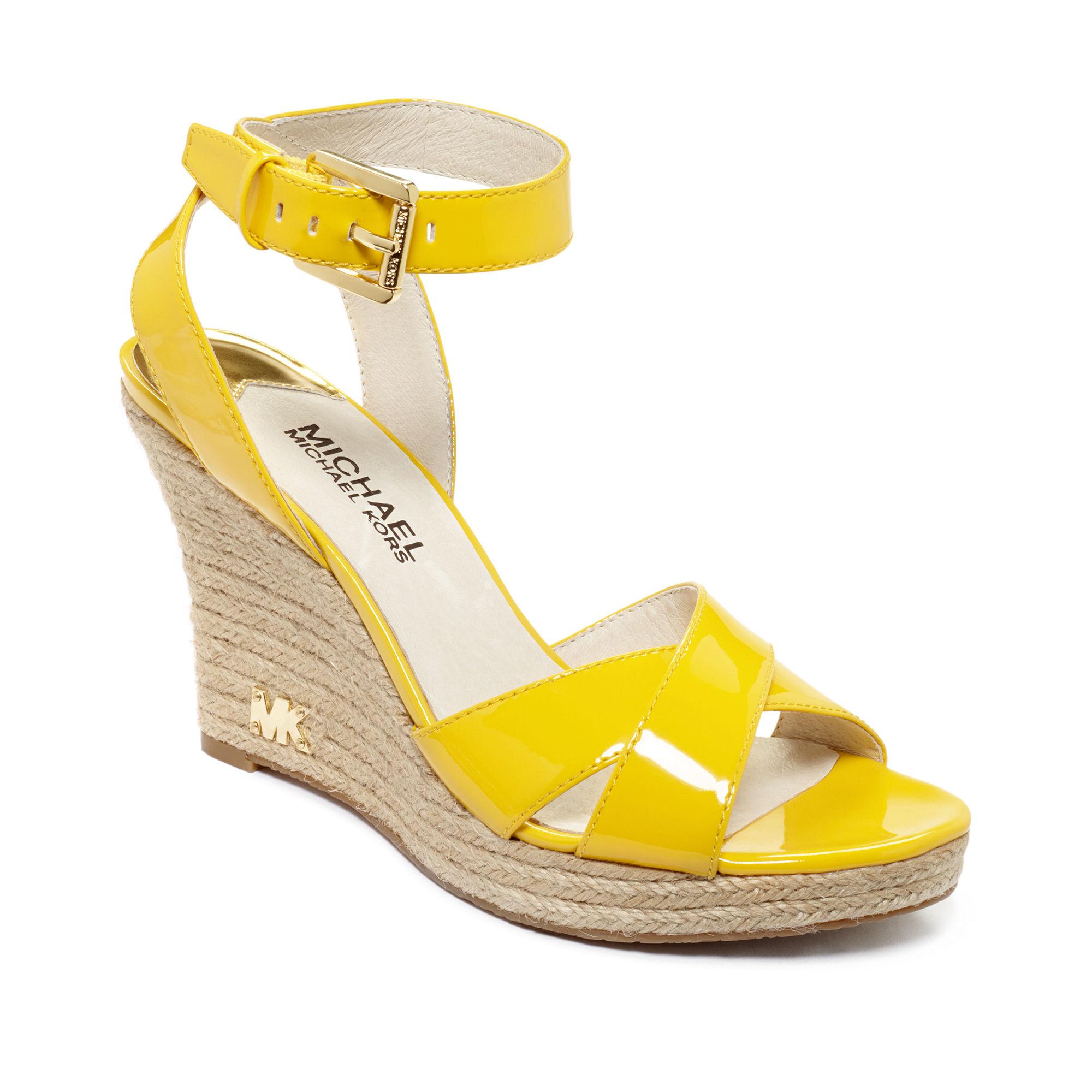 Michael kors Kami Platform Wedge Sandals in Yellow   Lyst