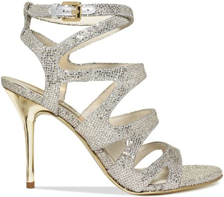 Michael Kors Yvonne Evening Sandals In Silver Lyst