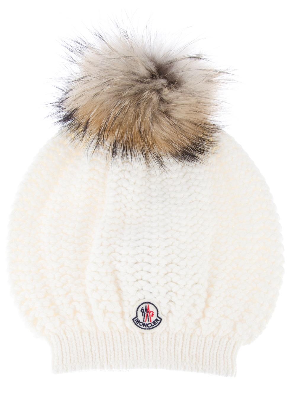 Lyst - Moncler Fur Bobble Hat in White cba857a4cd1