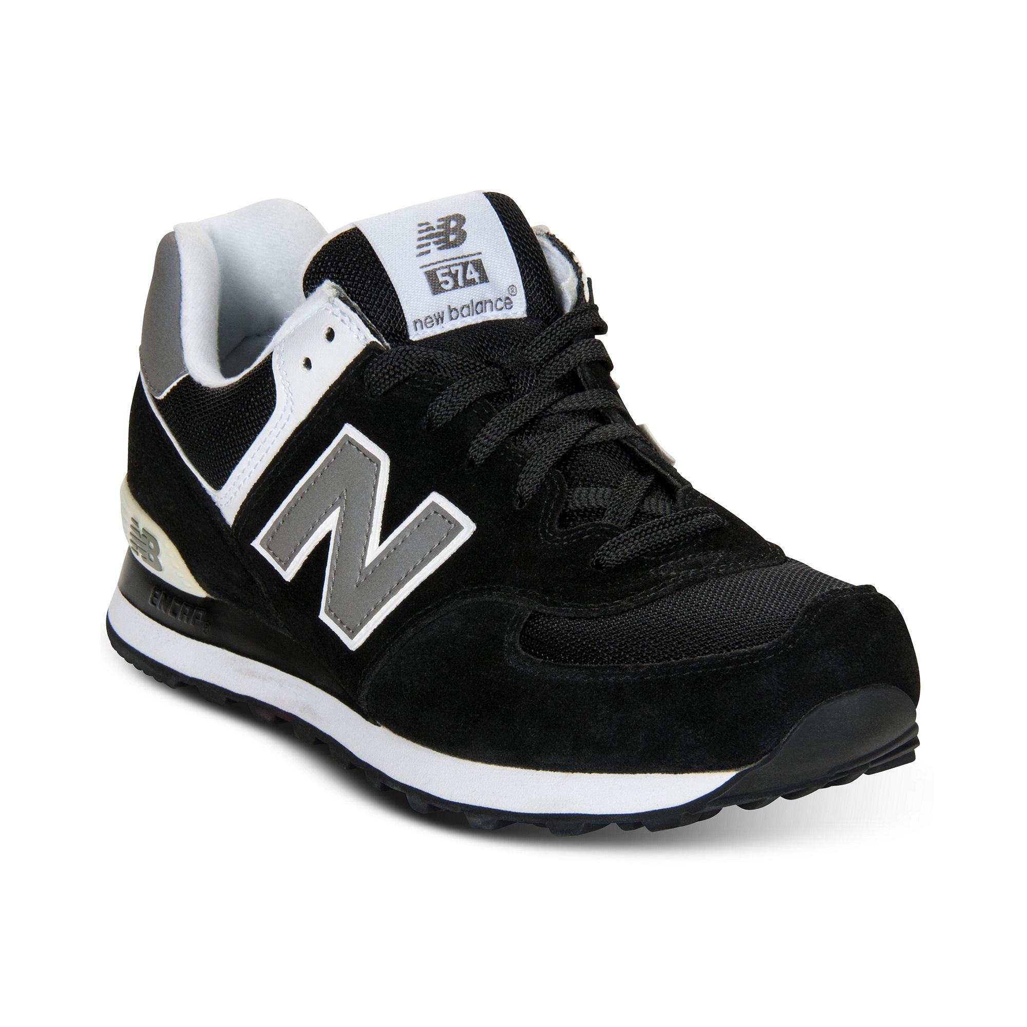 new balance 574 suede sneakers from finish line in black. Black Bedroom Furniture Sets. Home Design Ideas