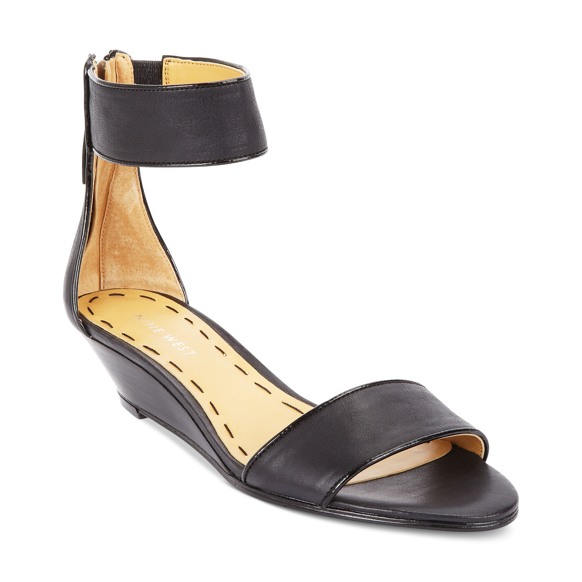 cecd4f0558 Nine West Vilta Demi Wedge Sandals in Black - Lyst