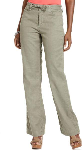 Cool Women White Wide Leg Elastic Waist Linen Pants Khaki Plus Size Women