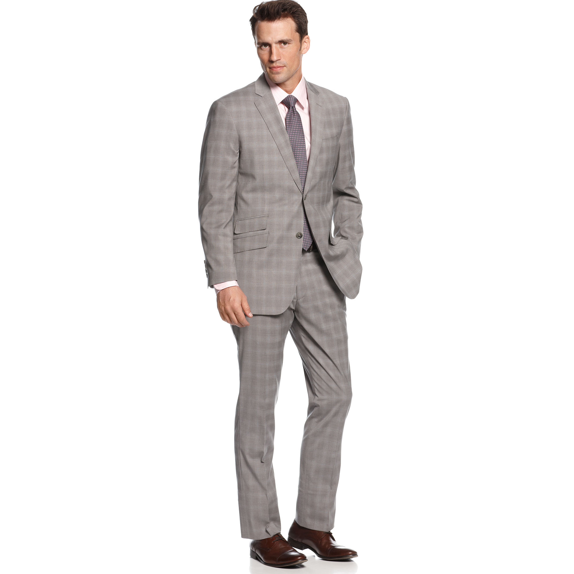 Perry ellis Light Grey Plaid Slim Fit Suit in Gray for Men | Lyst
