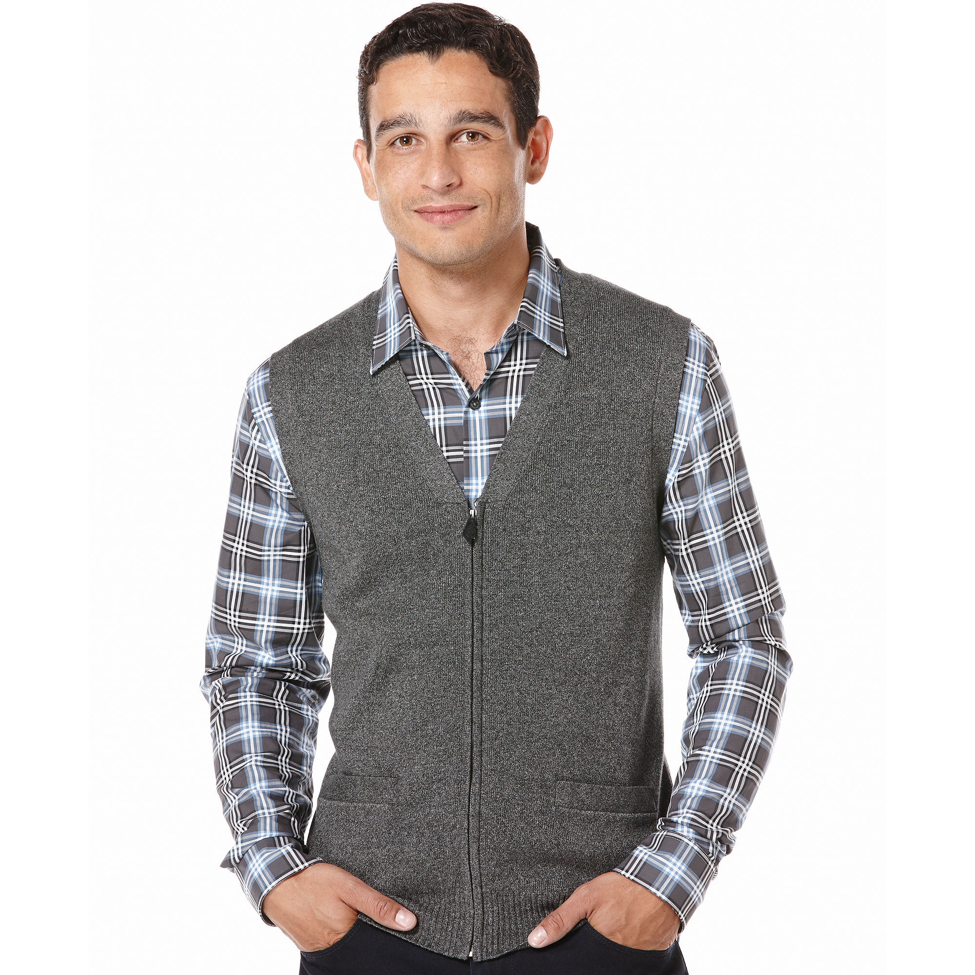 Perry ellis Cotton Zipper Sweater Vest in Gray for Men | Lyst