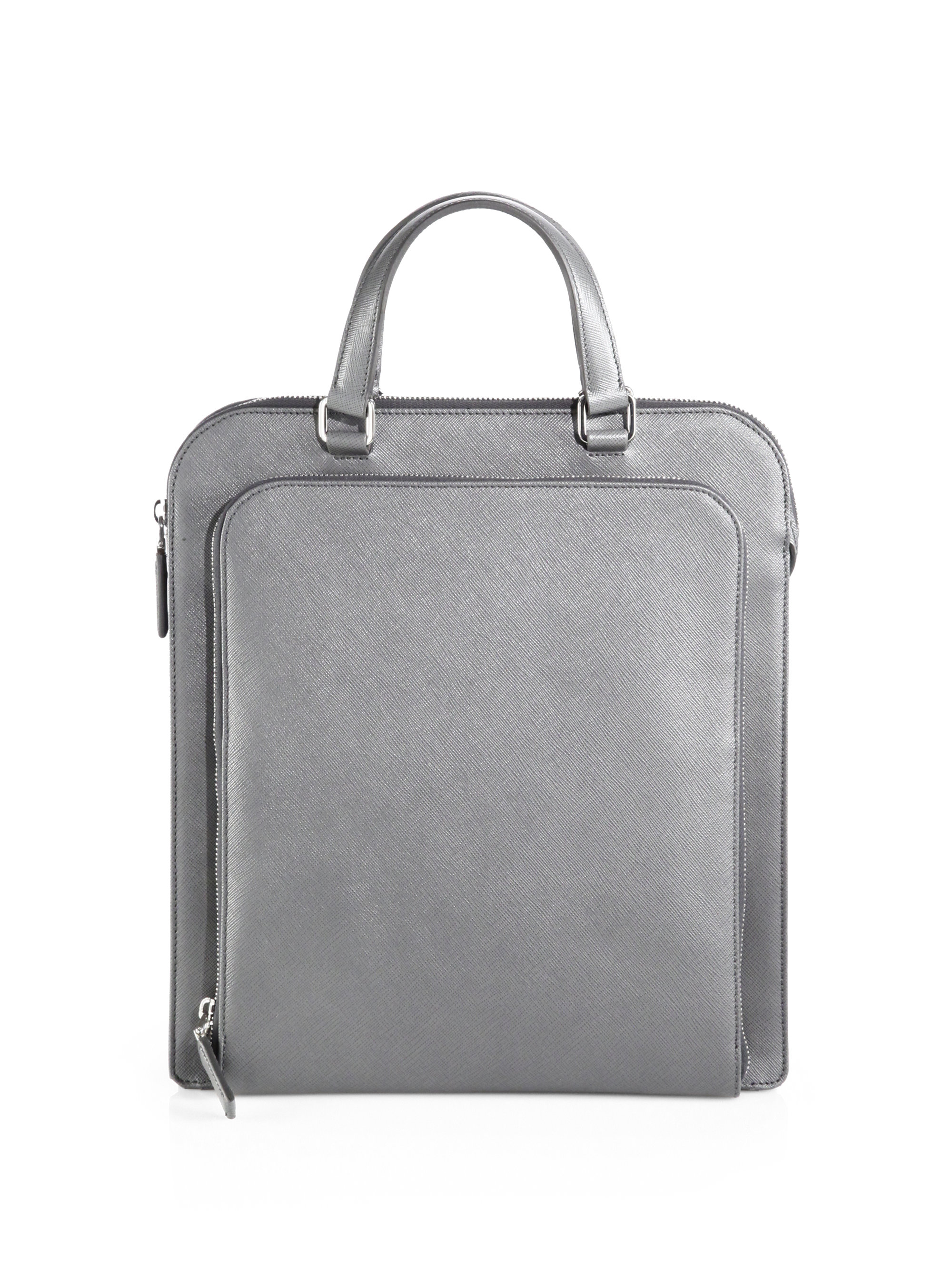 93c37f9b789 ... best lyst prada saffiano travel tote in gray for men c70f1 70ebc