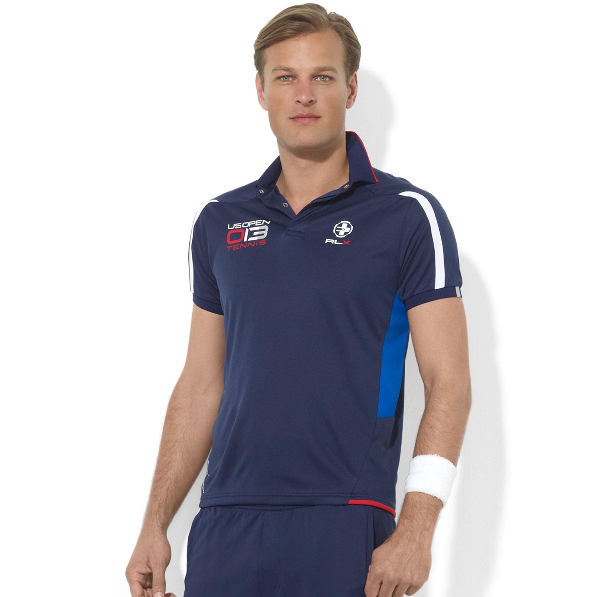 Lyst Ralph Lauren Rlx Us Open Eyelet Polo Shirt In Blue For Men