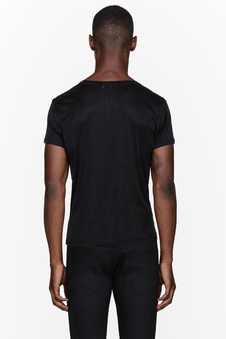 saint laurent black silk chain trimmed pocket t shirt in. Black Bedroom Furniture Sets. Home Design Ideas
