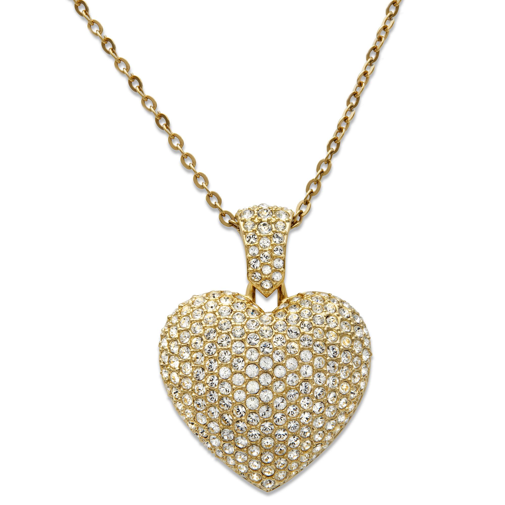Lyst swarovski puffed heart pendant in metallic gallery aloadofball Images