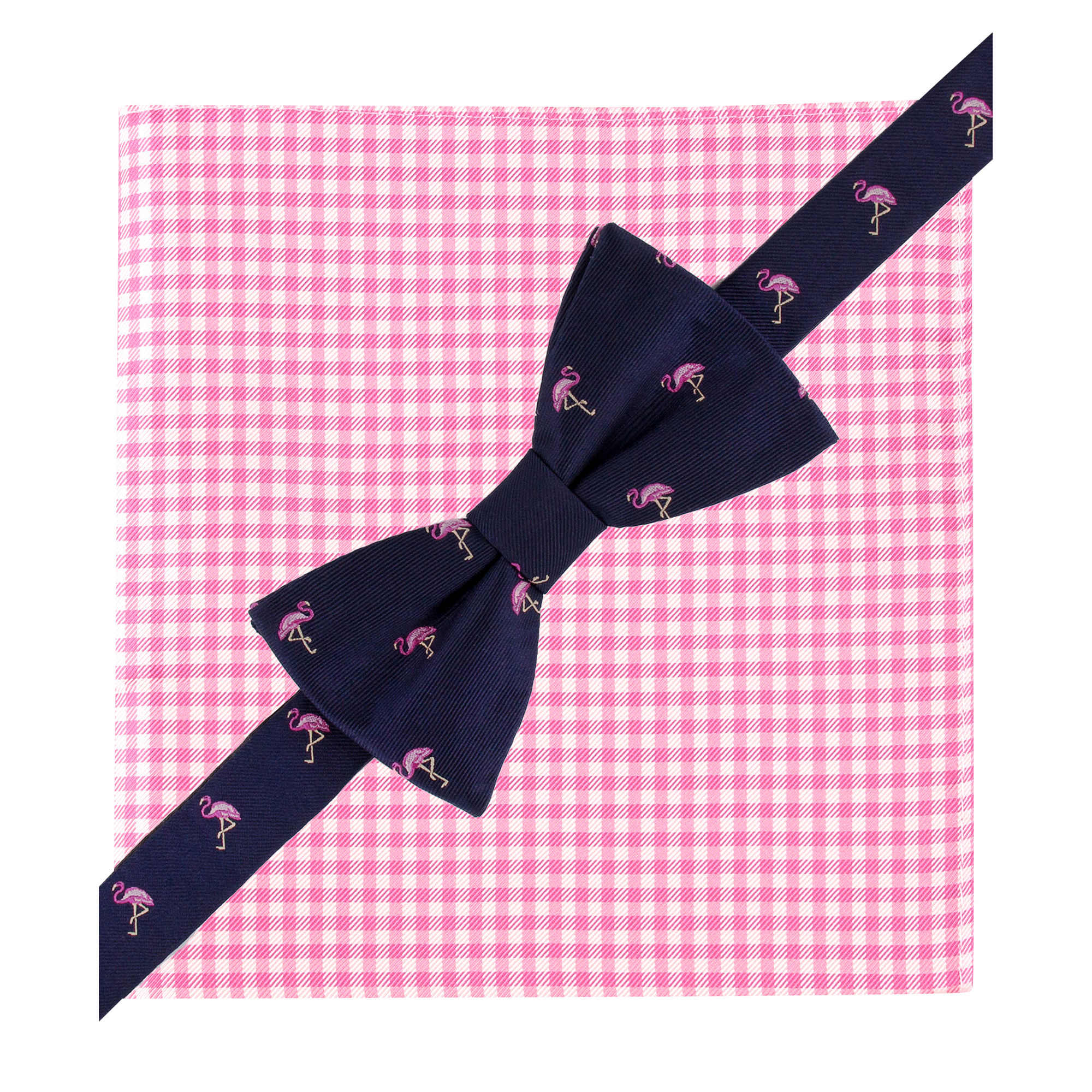 0bddd25aa449 Tommy Hilfiger Flamingo Bow Tie and Gingham Pocket Square Set in ...