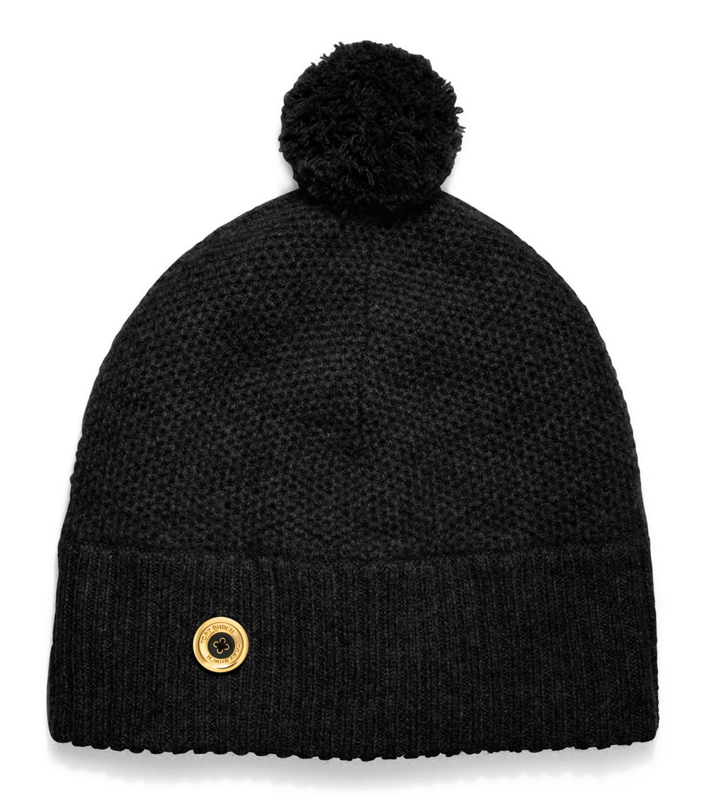 9b59964b814 Lyst - Tory Burch Moss Cashmere Stitched Pompom Hat in Black