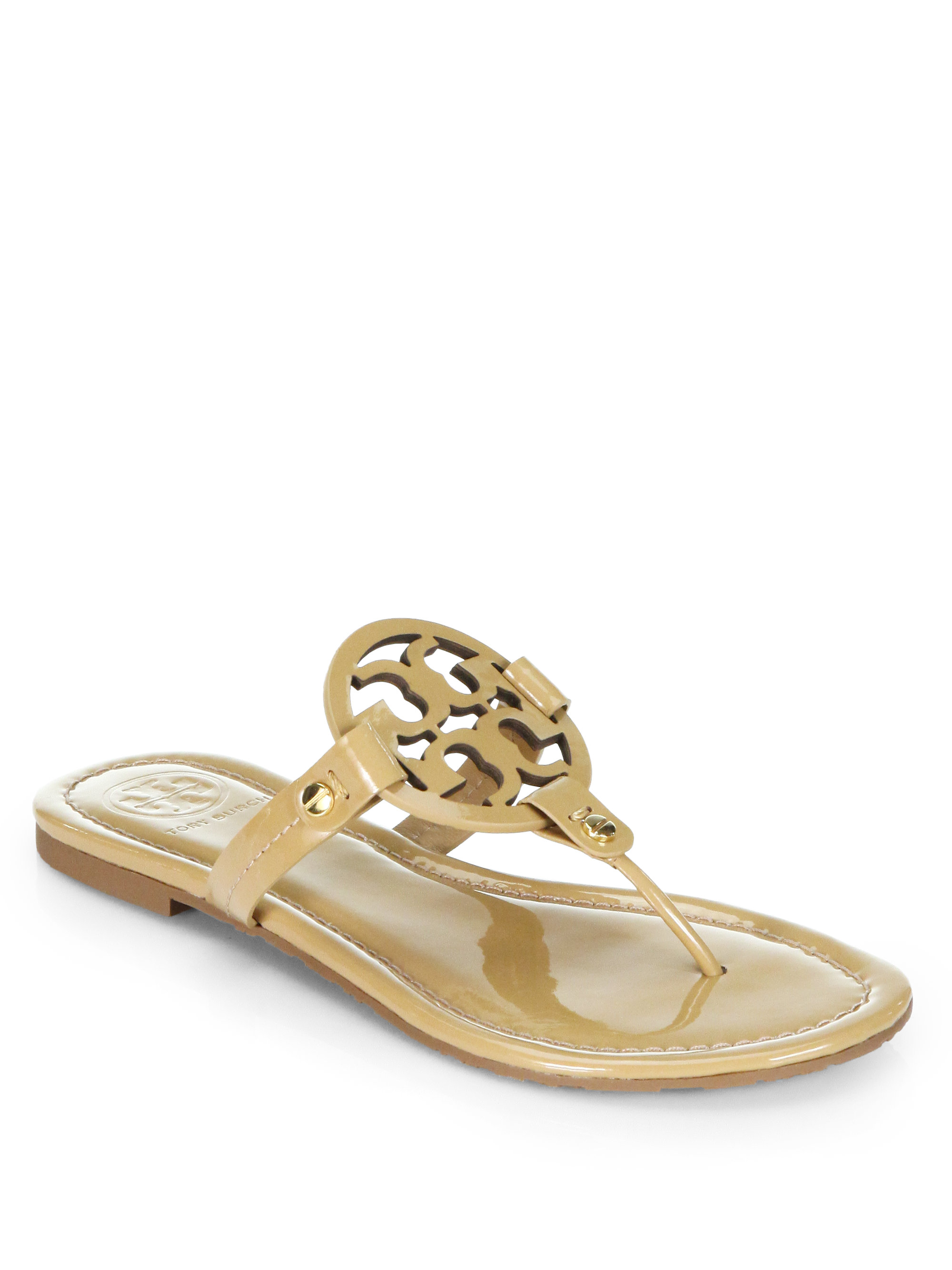 Tory Burch Miller Patent Leather Thong Sandals In Khaki