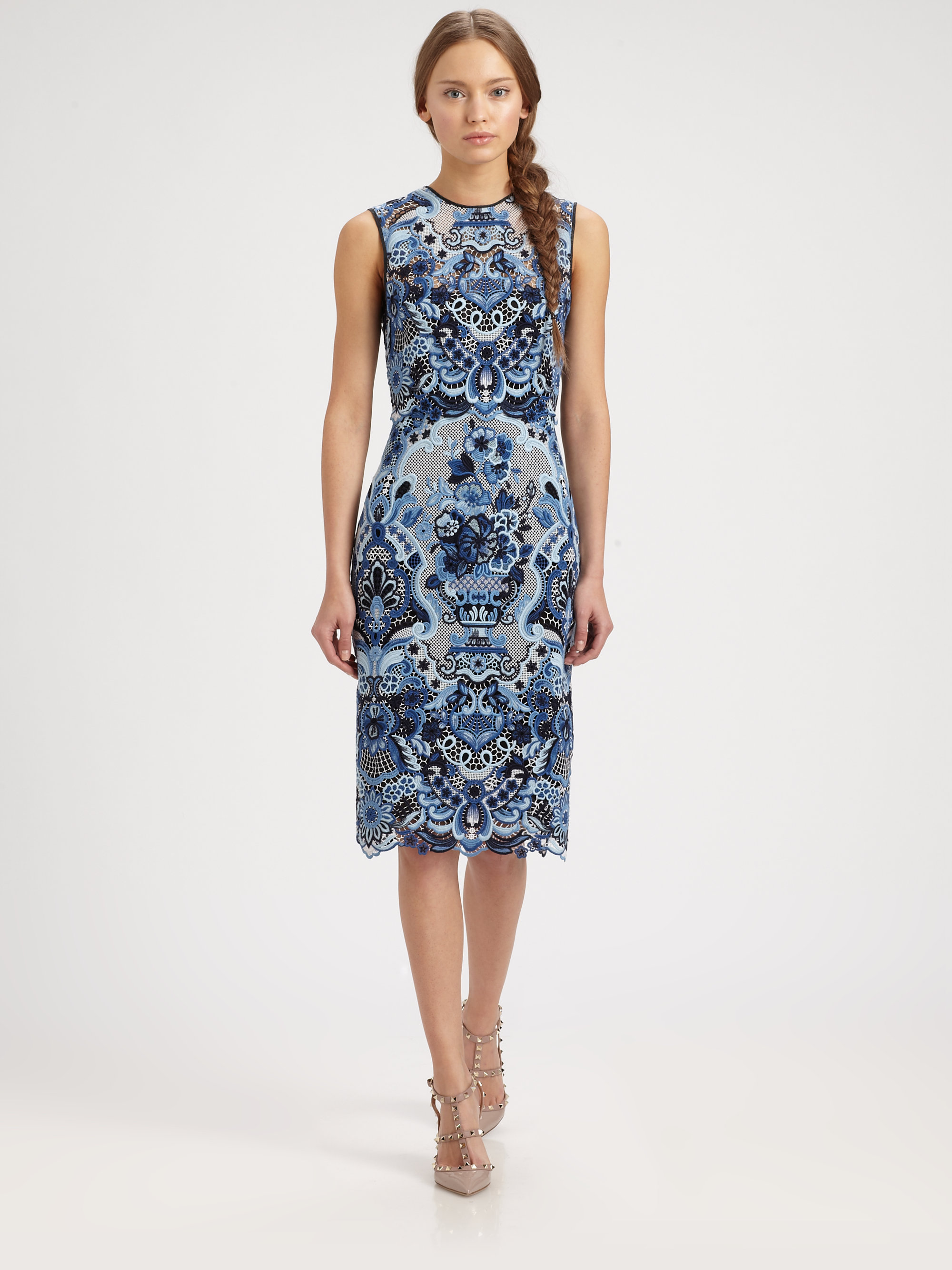 Lyst Valentino Guipure Lace Dress In Blue