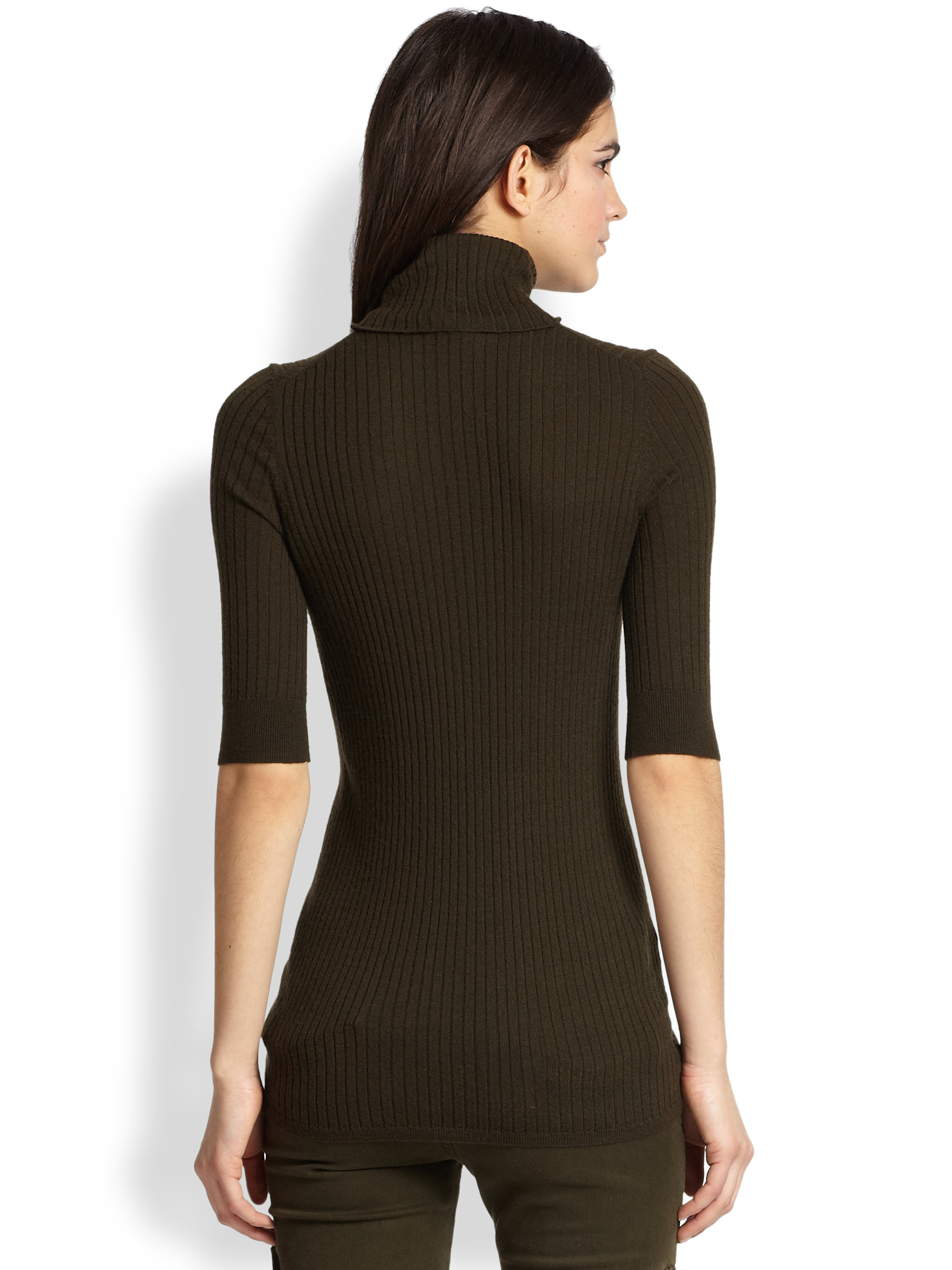 Vince Ribbed Turtleneck Sweater in Black | Lyst