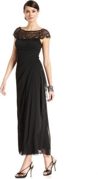 Xscape Xscape Dress Capsleeve Beaded Gown in Black   Lyst