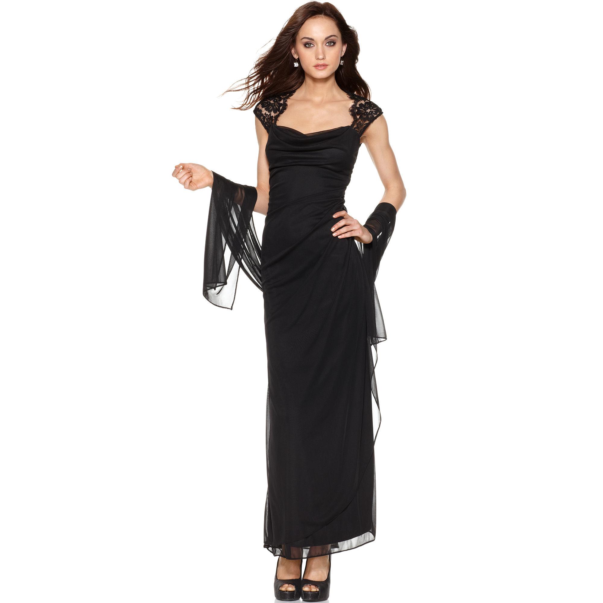 Xscape Cap Sleeve Lace Draped Shawl in Black   Lyst