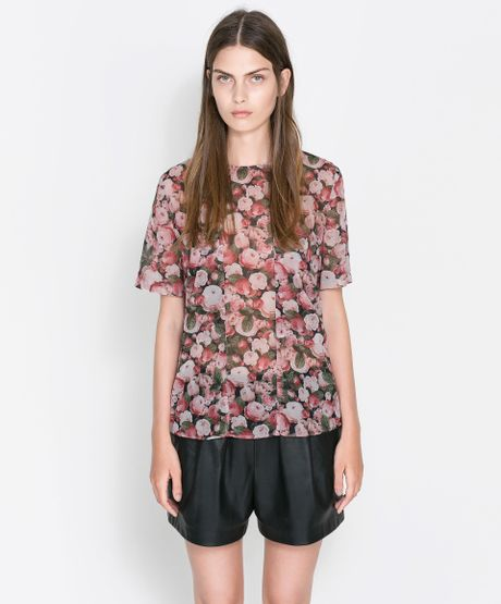 Zara Floral Blouse Uk 121