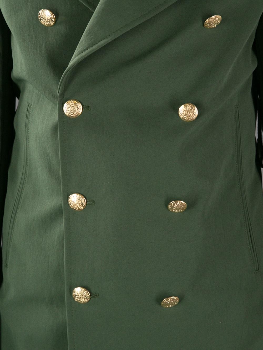 Lyst Alexander Mcqueen Military Peacoat In Green For Men