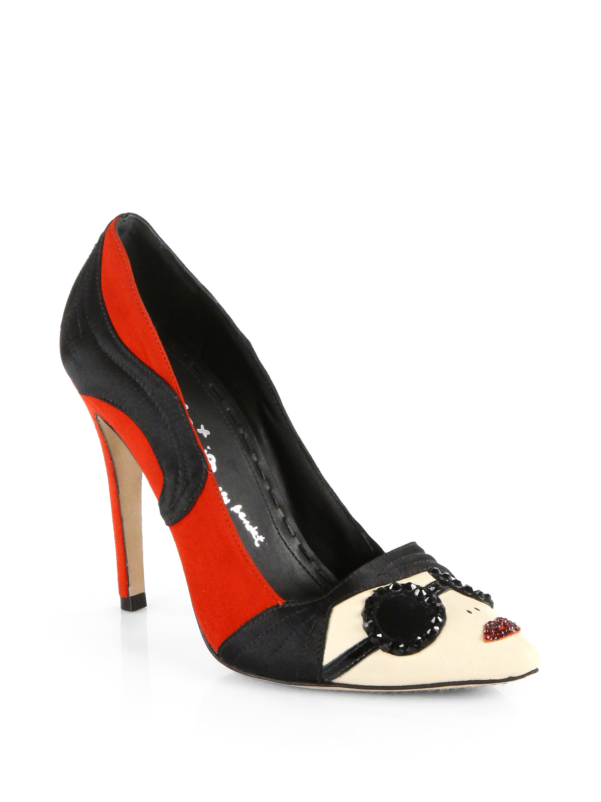 fdf853f27bf Lyst - Alice + Olivia Scarlet Sunglass Face Pumps in Black