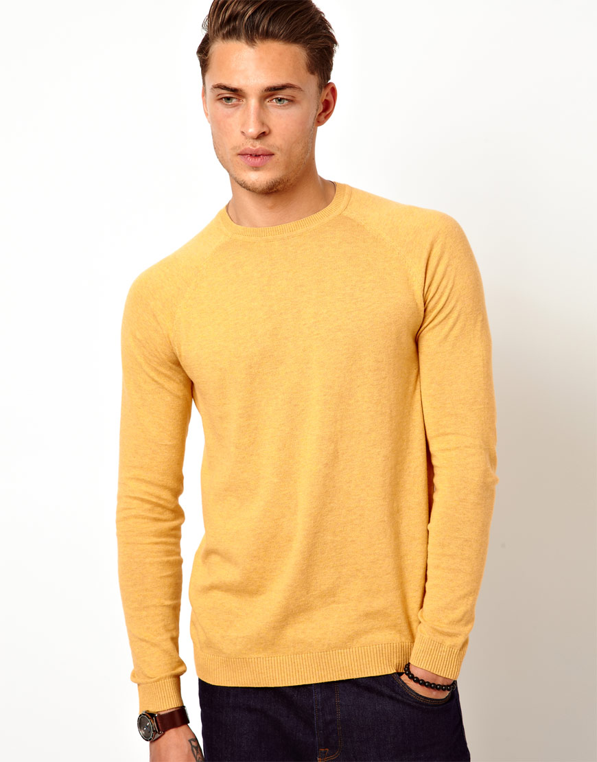 Ben sherman Crew Neck Sweater in Yellow for Men | Lyst