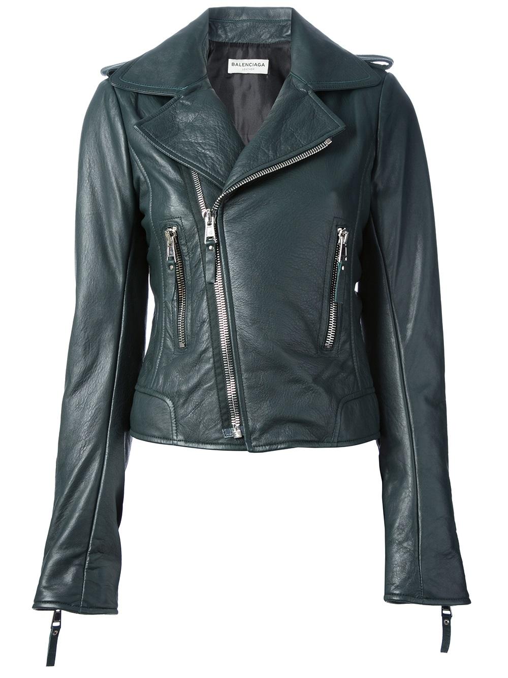 Balenciaga Leather Jacket In Green Lyst