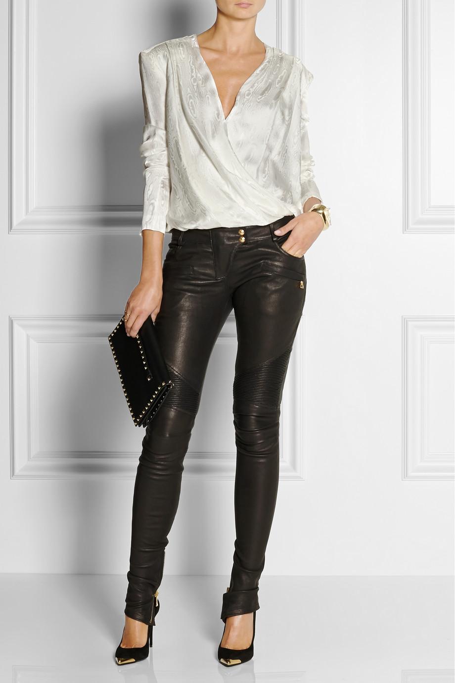 Lyst Balmain Wrap Effect Silk Jacquard Blouse In White
